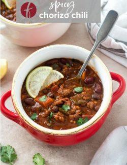 Spicy chorizo chili pinterest pin 1