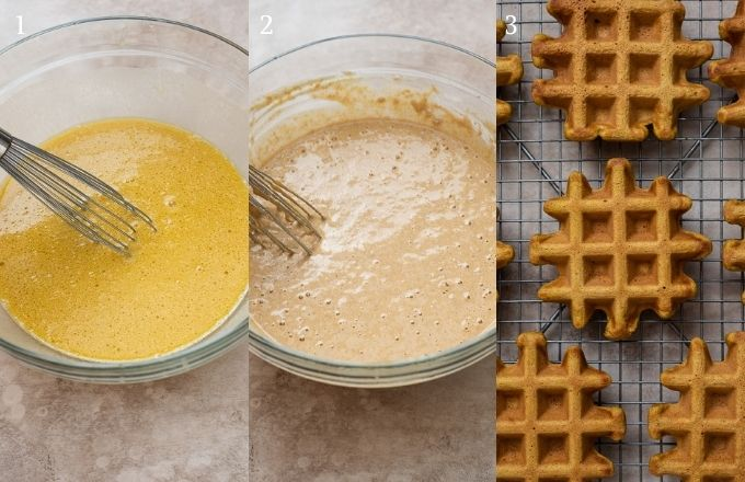 How to make sweet potato waffles collage