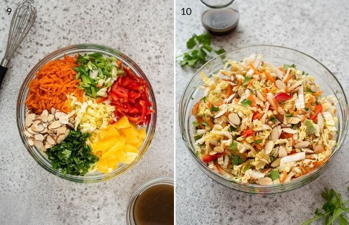 napa cabbage salad before and after tossing