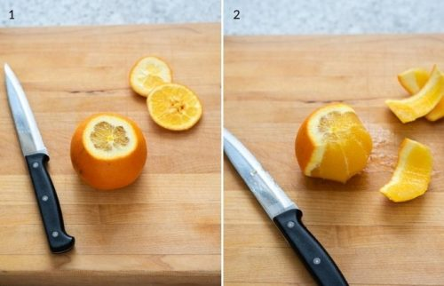 removing the peel from the top, bottom and sides of orange