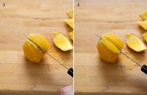 Knife segmenting an orange slice