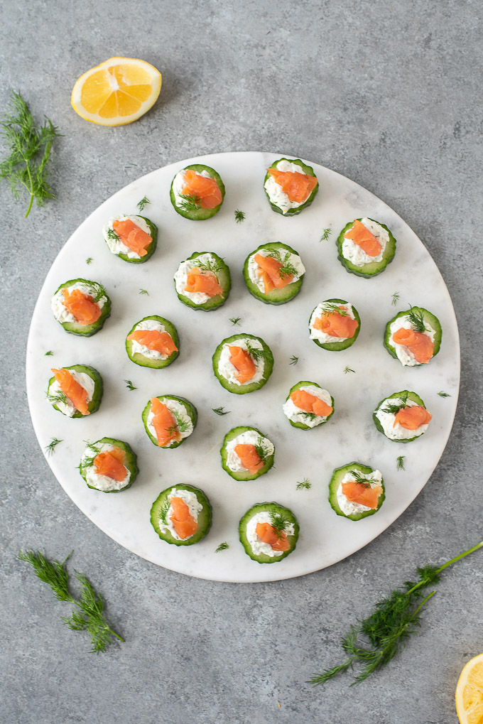 Smoked salmon bites on a round serving platter