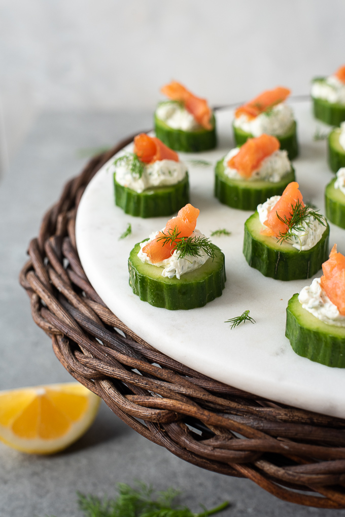 Smoked salmon appetizer with cream cheese and dill