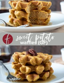 Healthy sweet potato waffles collage pin
