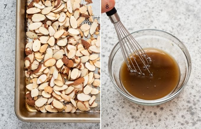 Toasted sliced almonds and asian dressing in a bowl