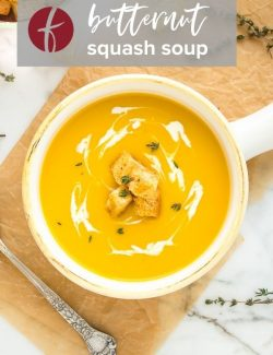 Butternut squash potato soup Pinterest pin 2