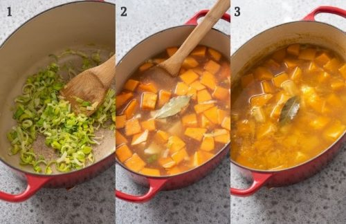 How to make butternut squash soup collage