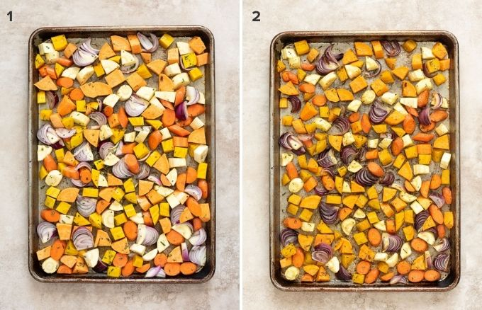 How to make roasted root vegetables collage