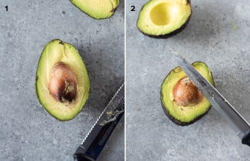 Pitting avocado collage