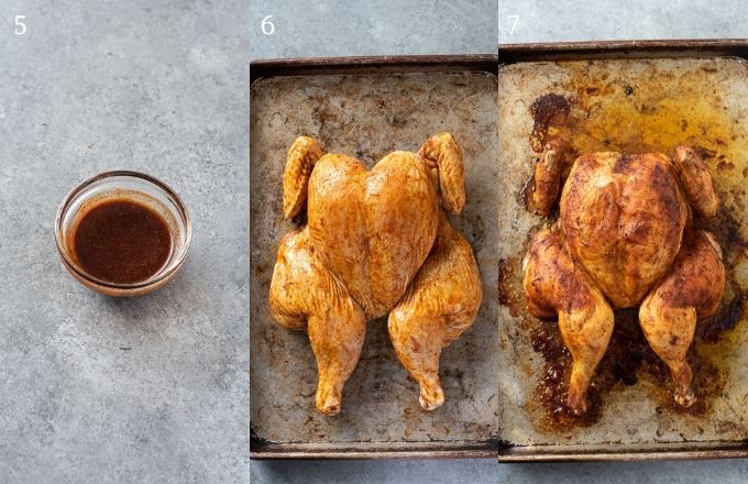 Prepping spatchcock chicken collage