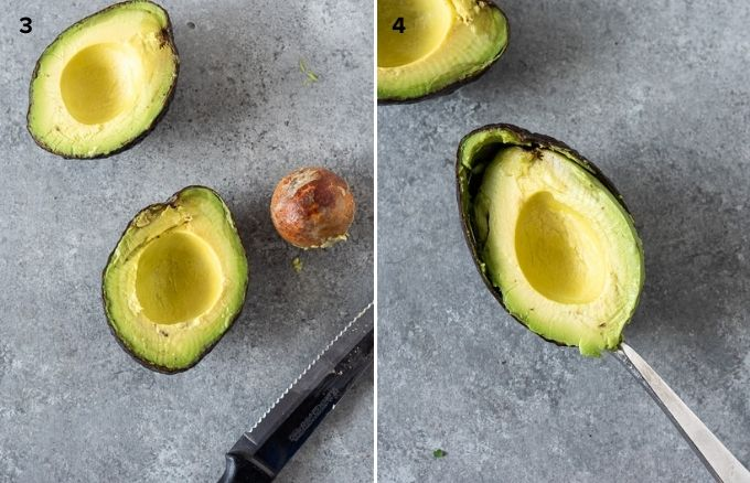 Removing pit and scooping out avocado collage