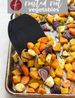 Roasted root vegetables recipe pin 2
