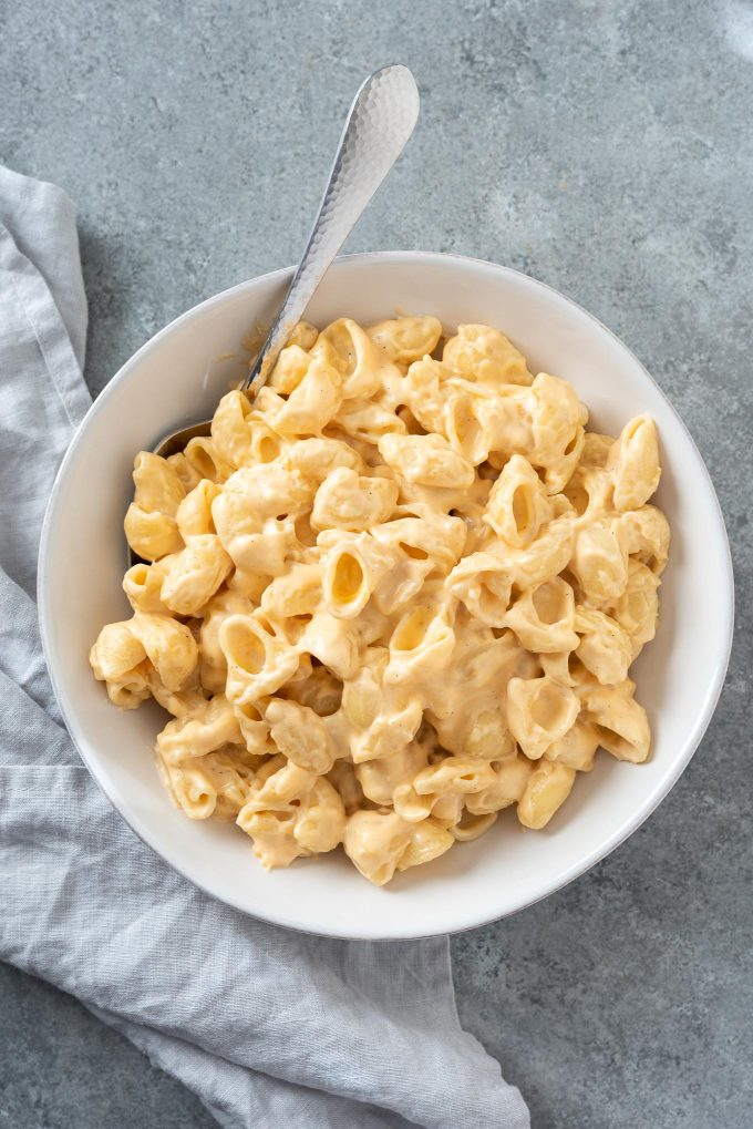 Stove top mac and cheese in a white bowl