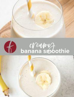 Banana smoothie recipe collage pin