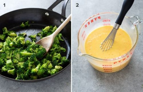 Cooked broccoli and egg mixture for crustless quiche collage