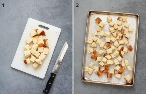Bread cubes before and after toasting for french toast casserole