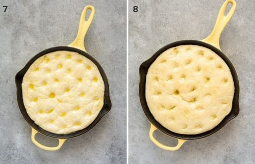 Focaccia bread pizza dough before and after par baking