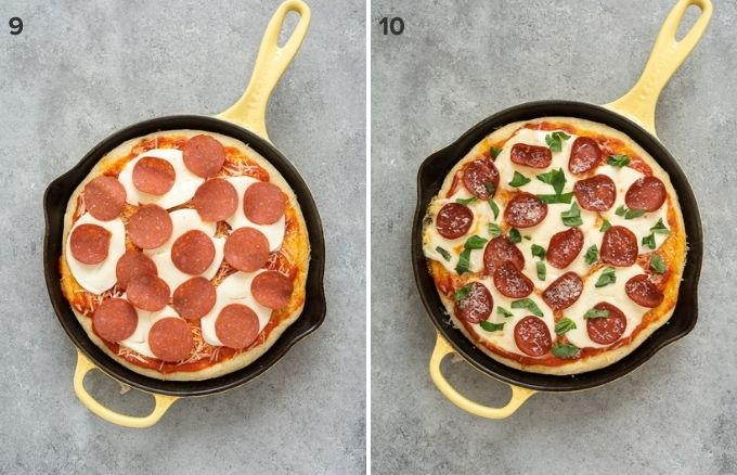 Focaccia bread pizza with toppings before and after baking