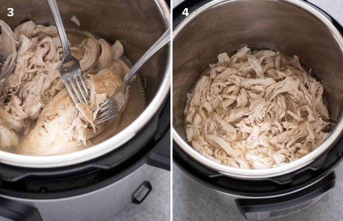 Two forks shredding chicken and shredded chicken in instant pot collage