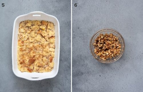 Overnight french toast casserole before and soaking and streusel collage