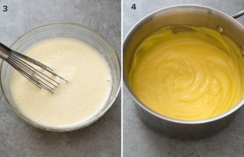 Hot milk added to egg yolk mixture and finished pastry cream in pot