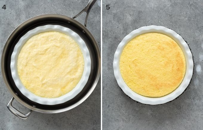 Lemon pudding cake before and after baking