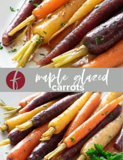 Maple glazed carrots collage pin