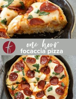 One hour focaccia pizza collage pin