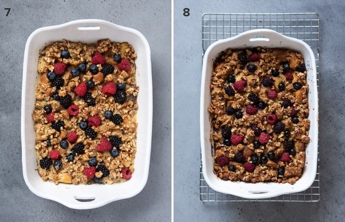 Overnight french toast casserole before and after baking