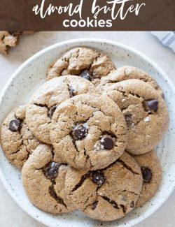 Almond butter chocolate chip cookies pin 1