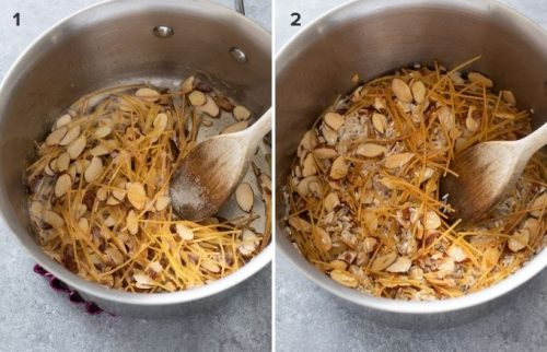 Toasted almonds, vermicelli and rice in pot collage