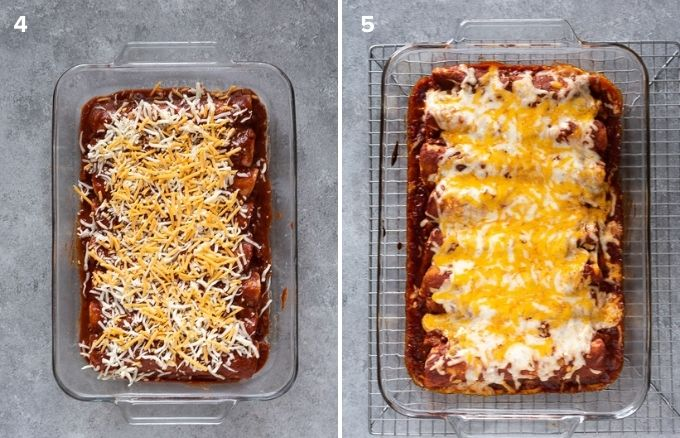 Chicken enchiladas before and after baking
