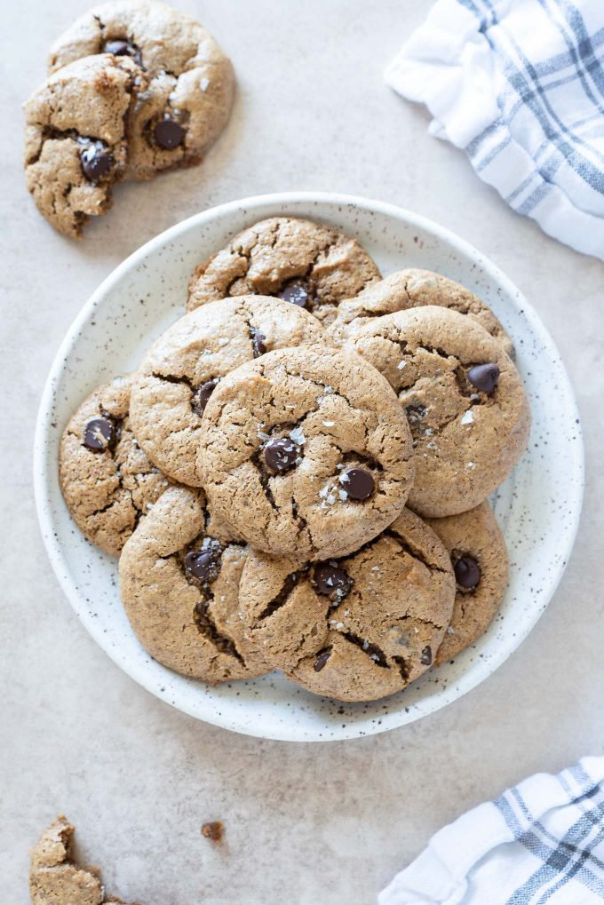 Plate full of almond butter cookies
