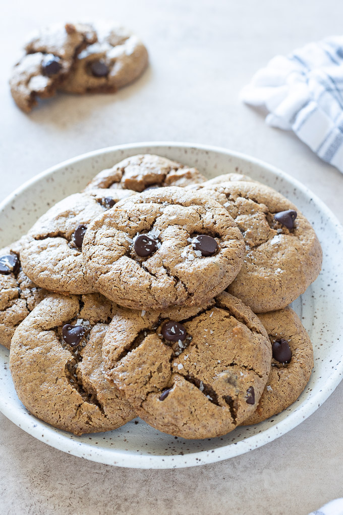 Plate of almond butter chocolate chip cookies