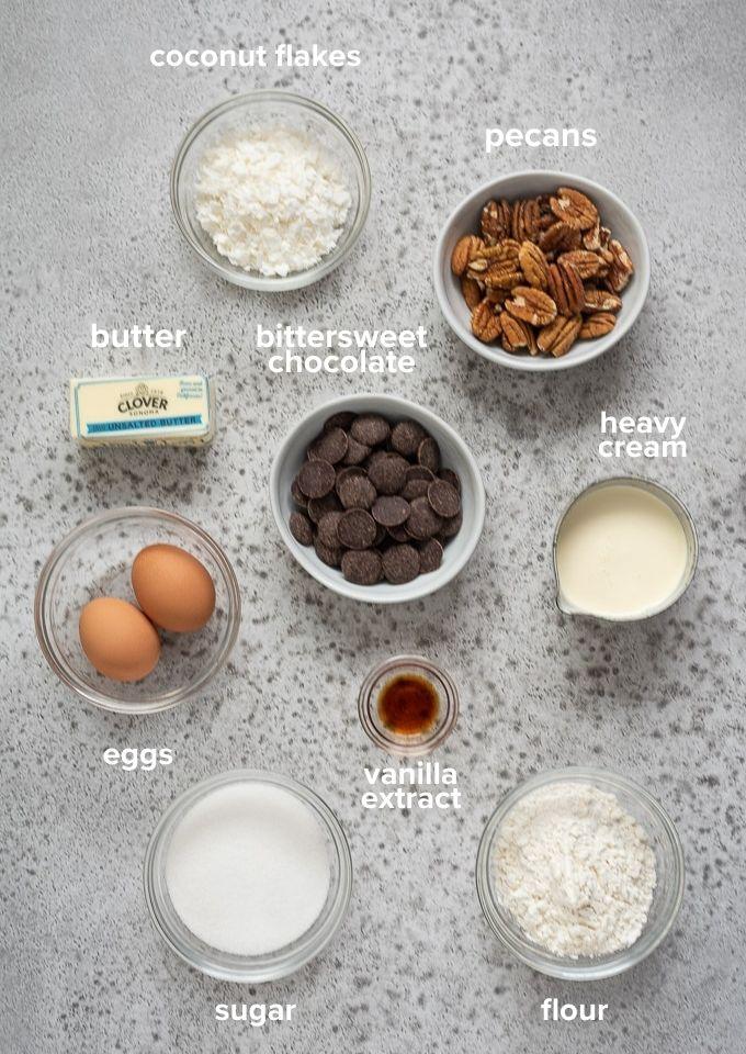 German chocolate brownie recipe ingredients