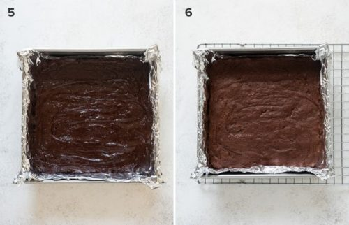 German chocolate brownies before and after baking