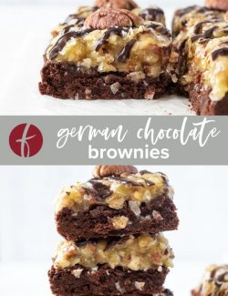German chocolate brownies with coconut pecan frosting collage pin