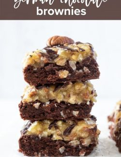Stack of German chocolate brownies Pinterest pin 1