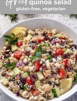 Greek quinoa salad recipe pin 1