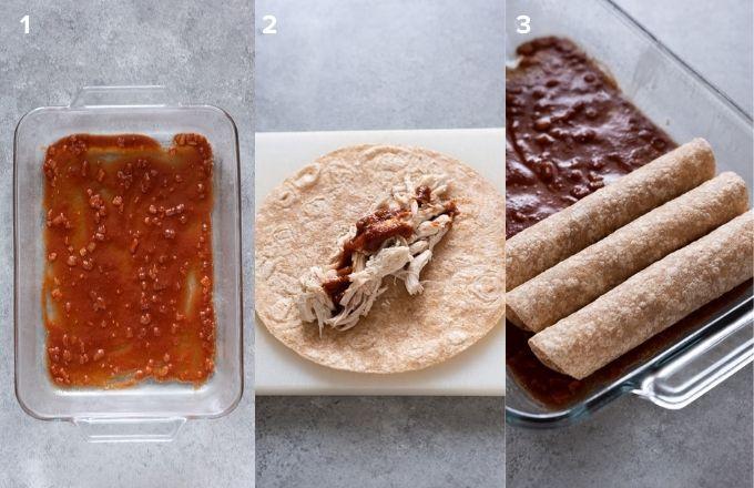 How to make chicken enchiladas collage