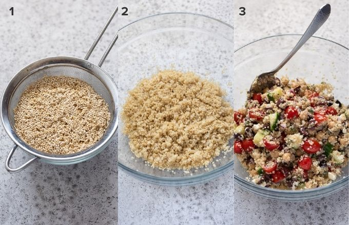 How to make Greek quinoa salad collage