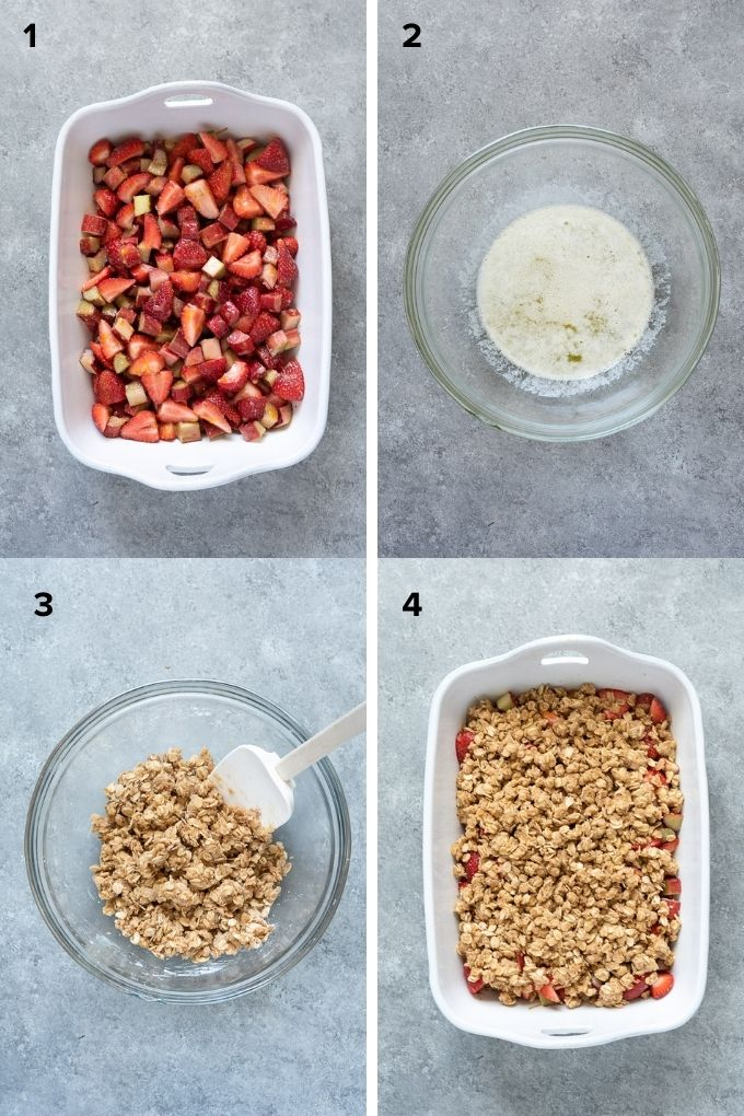 How to make strawberry rhubarb crisp collage