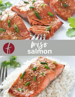 Miso salmon recipe collage pin