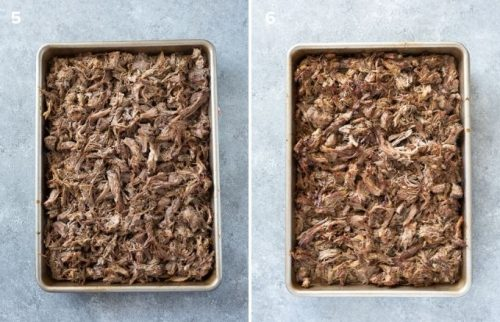 Pork carnitas on baking sheet before and after broiling