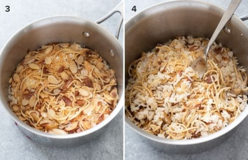 Rice pilaf in pot before and after fluffing collage