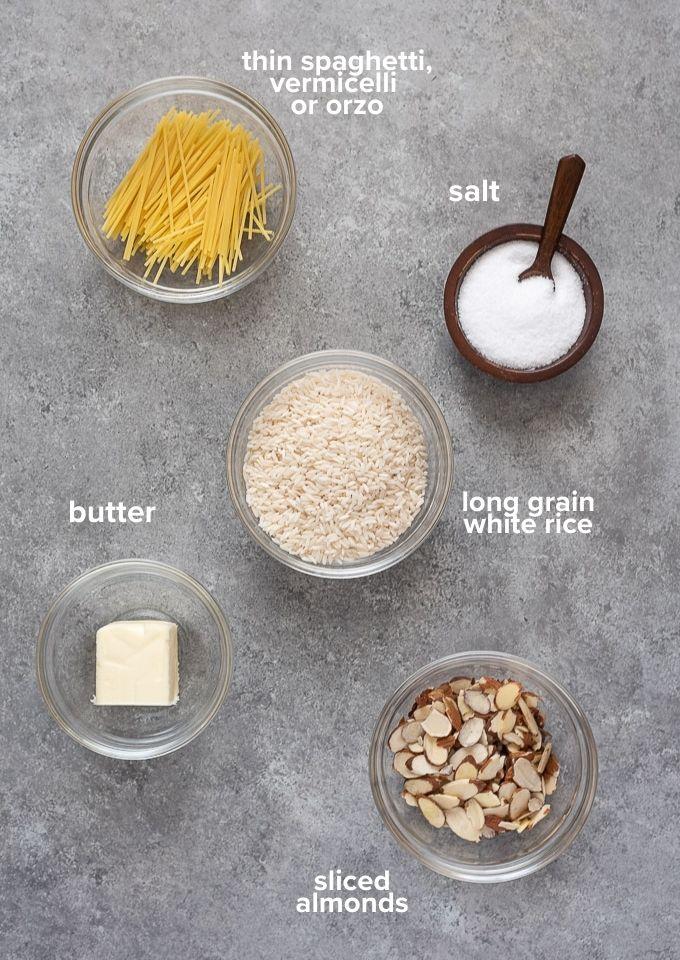 Almond Rice Pilaf Recipe ingredients
