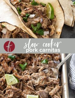 Slow cooker pork carnitas collage pin