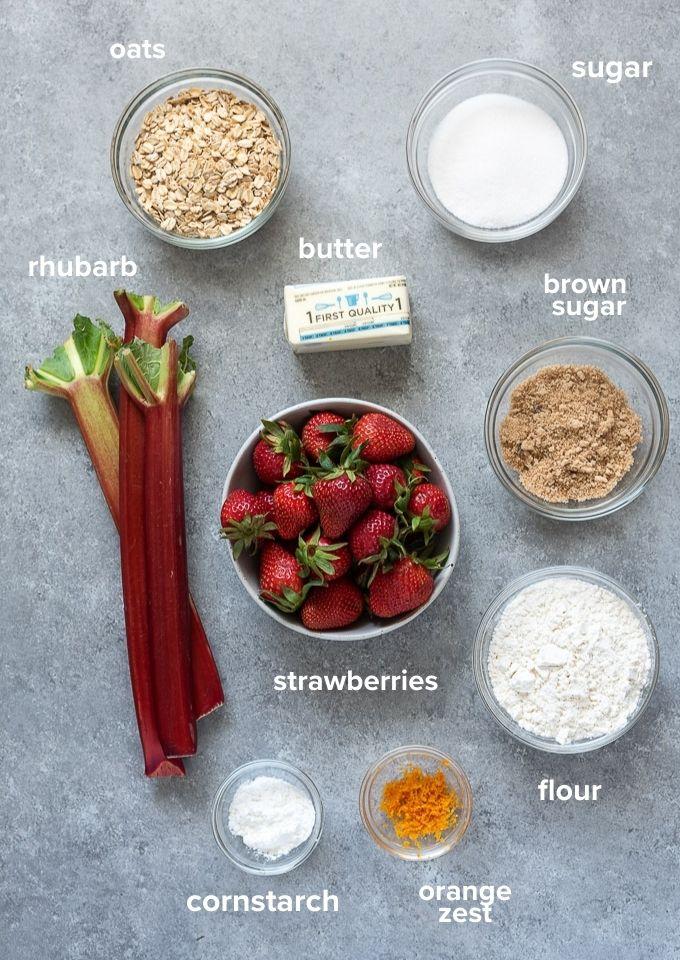 Strawberry rhubarb crisp recipe ingredients