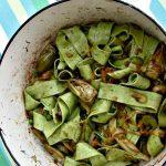 Spinach pasta in a dutch oven