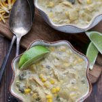 Two bowls of slow cooker poblano soup.
